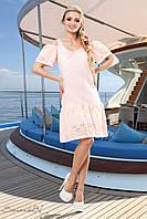 Женское легкое летнее платье из батиста с перфорацией