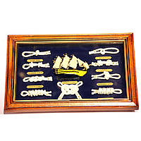 Картина сувенир модель корабля и морские узлы N3020-247D N3020-247C