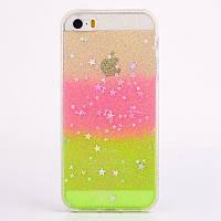 Чехол накладка силикон для iPhone 5/5S Glitter Bling Stars Pink , Винница
