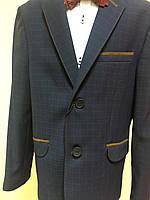 Пиджак темно синий в  клетку, подростковая одежда  146-170