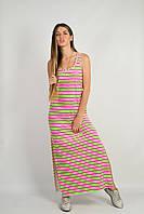 Платье летнее Полосы розовое/салатовое