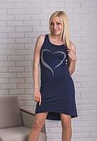 Платье  летнее со стразами темно-синее, фото 1