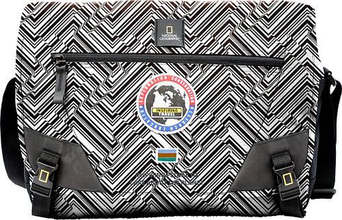 Роскошная сумка с карманом для ноутбука NATIONAL GEOGRAPHIC 01106;74, черно-белая, 12 л.