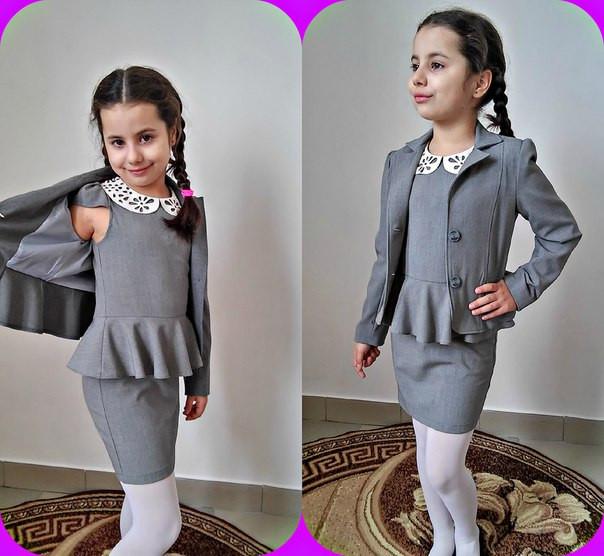 Модная школьная форма серая для девочек