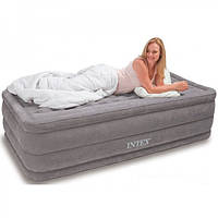 Матрас надувной односпальный с насосом Intex 191х99x46 см.