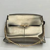 Женская сумка - багет 1610 темно- серебристого цвета на два отделения