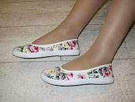 Т581 - Мокасины женские бежевые цветочки