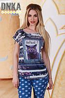 Женская футболка с рисунком кота