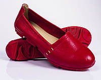 Женские кожаные туфли - балетки, разные цвета