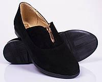 Женские замшевые туфли на низком каблуке, черный цвет