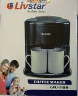 Техника в офис, Кофеварка LivStar 1189, вкусный кофе, две чашки одновременно, завариваем кофе правильно