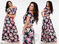 Летний женский костюм длинная юбка + топ штапель в цветы размеры 42-44, 46-48