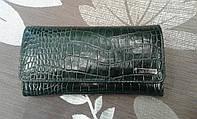 Кожаный женский кошелек зеленый с тиснением под рептилию(Turkey)