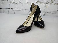 Женские туфли лодочки черная кожа