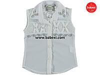Нарядная белая шифоновая блузка рубашка детская на девочку 10, 11, 12 лет.Турция!Детская летняя одежда