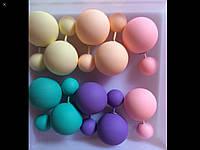 """Набор женских сережек """"Двойная жемчужина"""" набор 5 пар матовые цвета"""