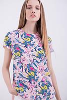 Женская летняя туника с цветочным принтом