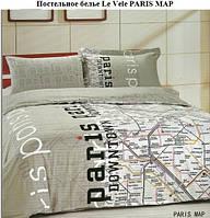 Комплект постельного белья Le Vele сатин PARIS MAP