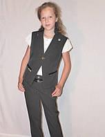 """Школьный костюм тройка жилетка для девочки """"Стиляшка"""" черный, р-ры 28-38"""