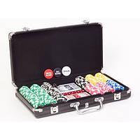 Набор для игры в покер в металическом кейсе: 2 колоды карт, 300 фишек с номиналом от 25 до 5000
