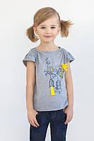 """Детская футболка """"Birds"""" для девочки (серая)"""