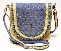 Женская сумка с блочками и рогожкой маленькая