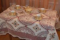 Скатерть льняная с вышивкой и кружевом - Код 119-1-8