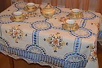 Скатерть льняная с вышивкой и кружевом - Код 119-1-9