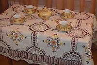 Скатерть льняная с вышивкой и кружевом - Код 119-1-10
