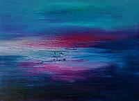 «Медленный закат... и небо встретилось с водой» картина маслом