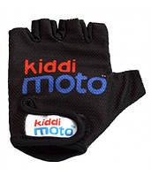 Перчатки детские Kiddi Moto чёрные с логотипом, размер М на возраст 4-7 лет