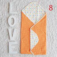 Персиковый хлопковый конверт-одеяло в коляску. Эксклюзив.