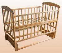 Детская кроватка с маятником, откидной боковинкой. Ясень. Наталка.