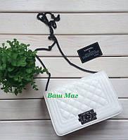 Женский брендовый клатч Шанель белый