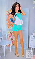 Костюм женский  Стильный летний с шортами цвет мята