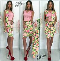 Костюм шелковый летний тройка - юбка,топ,пиджак в разных цветах MIL329