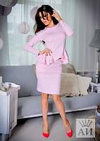 Костюм женский  Элегантный с юбкой и многоярусной баской цвет розовый