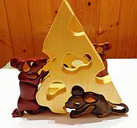Салфетница Мышки с Сыром натуральное дерево ручная работа handmade