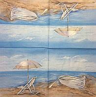 "Салфетка для декупажа ""Море, лодка, шезлонг"" 33*33см"