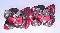 """Многослойные """"американские"""" бантики """"Милые горошки"""" цвет серый+розовый"""