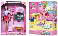 Кукла DEFA 8183 школьная доска, парта, стул, карандаши, (в коробке 25-33-6 см)