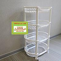 Пластиковая этажерка LUX на 4-и полки, белая