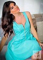 Платье  Молодёжное коттоновое на змейке беби-дол цвет мята