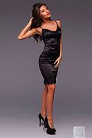 Платье  Стильное из шёлка украшено французским кружевом на бретелях цвет чёрный