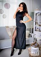Платье Вечернее элегантное открытая линия ноги разрезом цвет чёрный макси