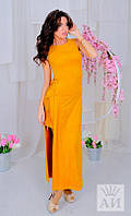 Платье Стильное элегантное открытая линия ноги разрезом цвет горчичный макси