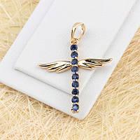 R4-0362 - Изящный позолоченный крестик с крыльями и сапфирово-синими фианитами