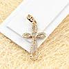 R4-0365 - Изумительный позолоченный кулон-крест с прозрачными фианитами