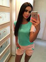 Костюм женский Летний с шортами розово-мятный