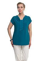 Женская блузка большого размера Галстук темно бирюзовый